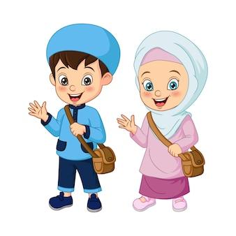 Desenhos animados de crianças muçulmanas indo para a escola