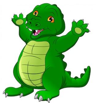 Desenhos animados de crocodilo bebê fofo acenando