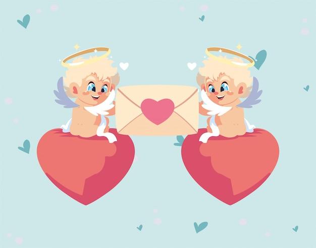 Desenhos animados de cupidos loiros feliz dia dos namorados com cartão