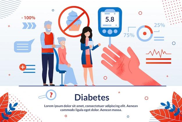 Desenhos animados de diabetes de inscrição informativa.