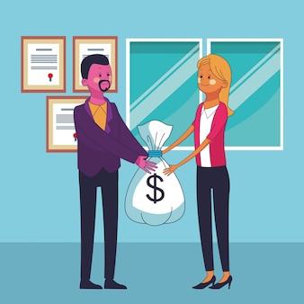 Desenhos animados de dinheiro de economia de negócios