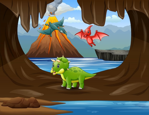 Desenhos animados de dinossauros na ilustração da caverna
