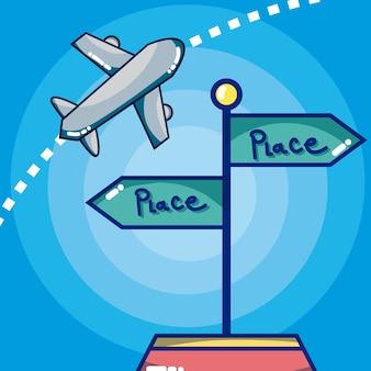 Desenhos animados de direções de orientação de viagens