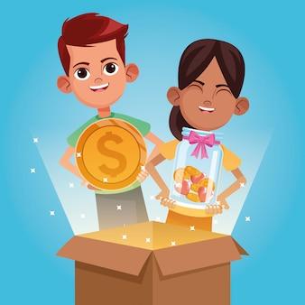 Desenhos animados de doação e caridade de crianças