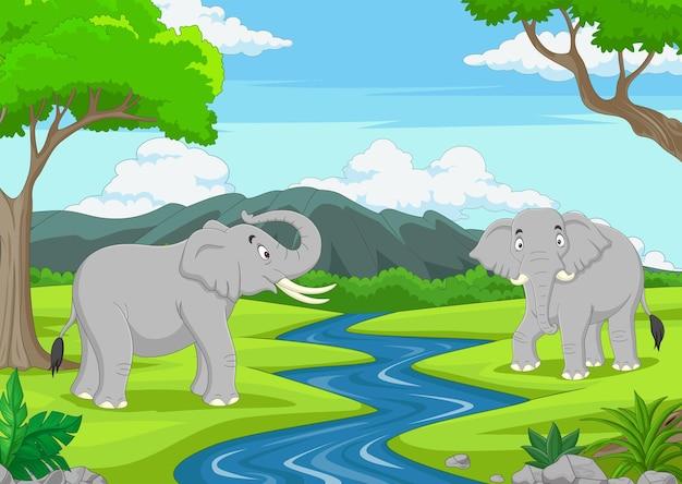 Desenhos animados de dois elefantes na selva
