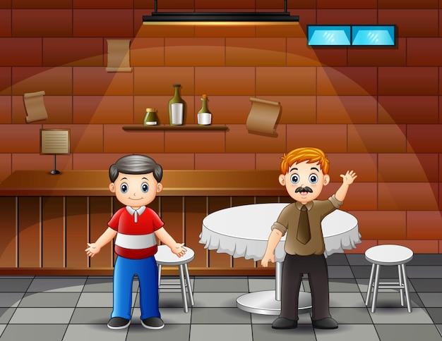 Desenhos animados de dois homens parados no café