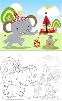 Desenhos animados de elefante agradável com equipamento de tribo indígena