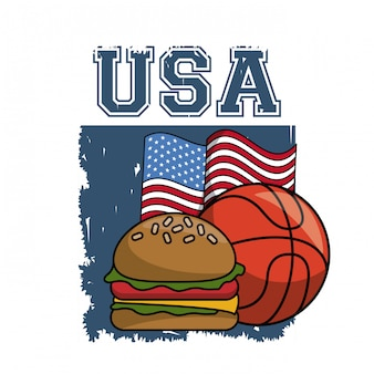 Desenhos animados de elementos de esportes e comida americana vector design gráfico ilustração