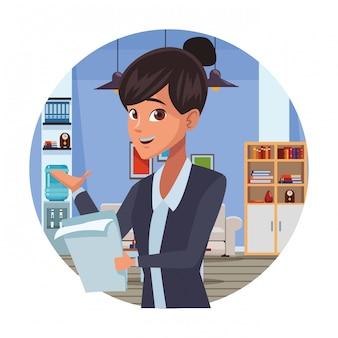Desenhos animados de empresária executiva