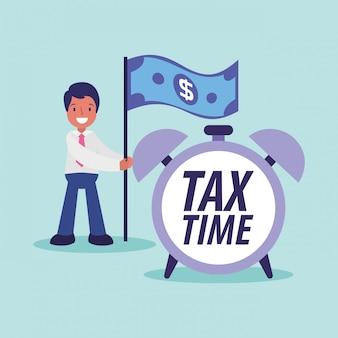 Desenhos animados de empresário de dia de imposto