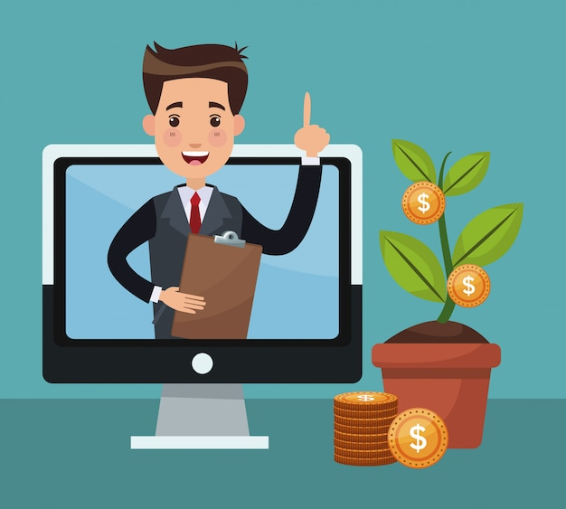 Desenhos animados de empresário e dinheiro