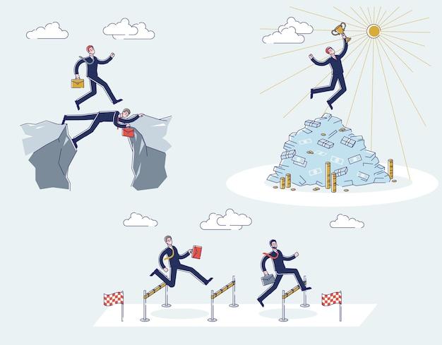 Desenhos animados de empresários passando lacuna segurando a taça do vencedor