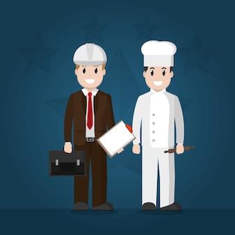 Desenhos animados de engenheiro e chef de trabalhadores