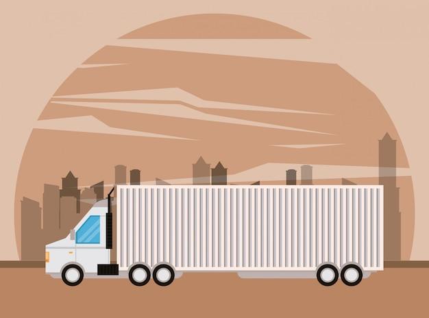Desenhos animados de entrega de mercadoria logística de caminhão