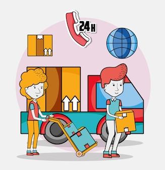 Desenhos animados de entrega e correio
