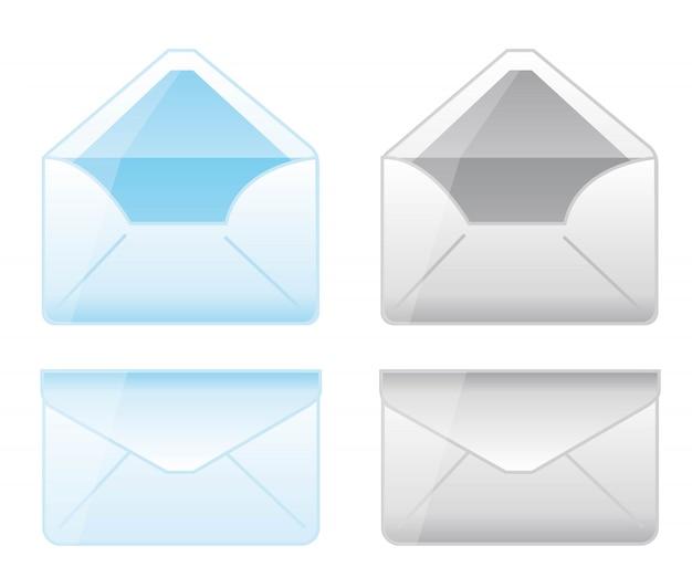 Desenhos animados de envelope azul e cinza sobre o vetor de fundo whtie