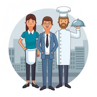 Desenhos animados de equipe do restaurante