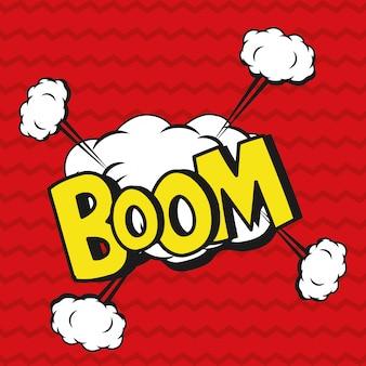 Desenhos animados de explosão de boom de pop art