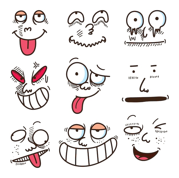 Desenhos animados de expressão facial