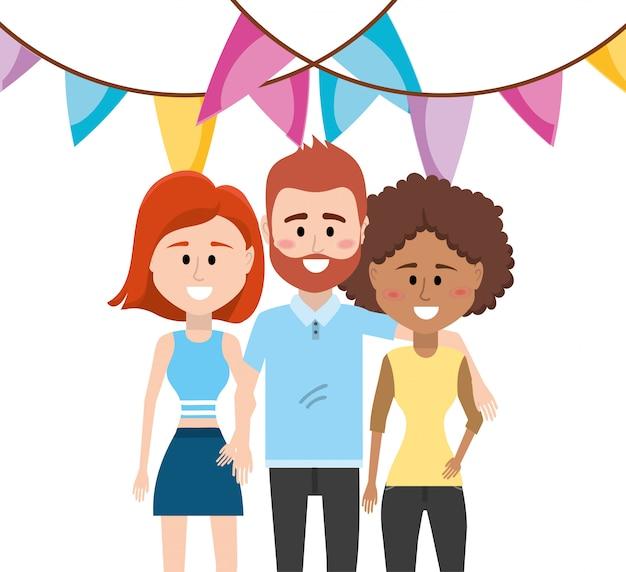 Desenhos animados de festa de pessoas