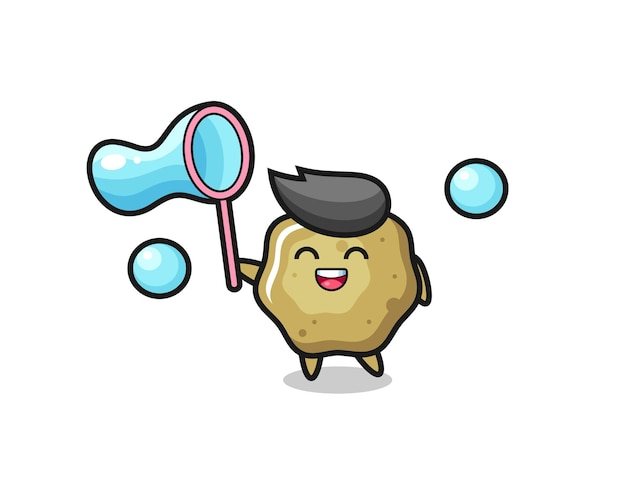 Desenhos animados de fezes soltas felizes jogando bolha de sabão, design de estilo fofo para camiseta, adesivo, elemento de logotipo