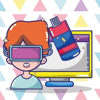 Desenhos animados de fone de ouvido de realidade virtual