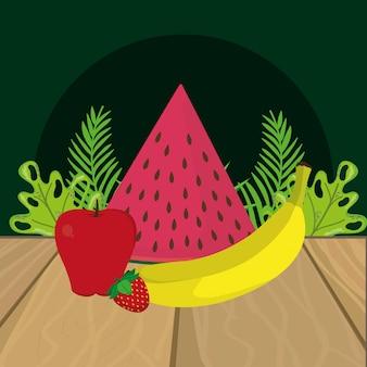 Desenhos animados de frutas frescas