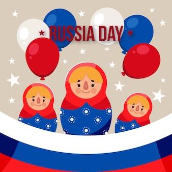 Desenhos animados de fundo do dia da rússia com balões