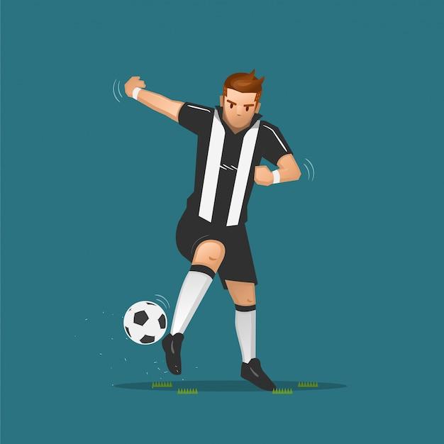 Desenhos animados de futebol driblando