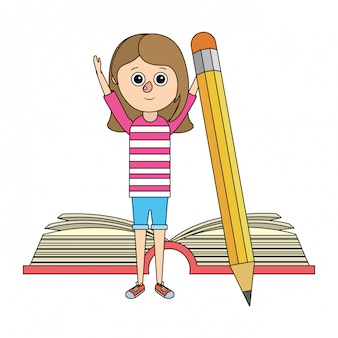 Desenhos animados de garota de educação escolar