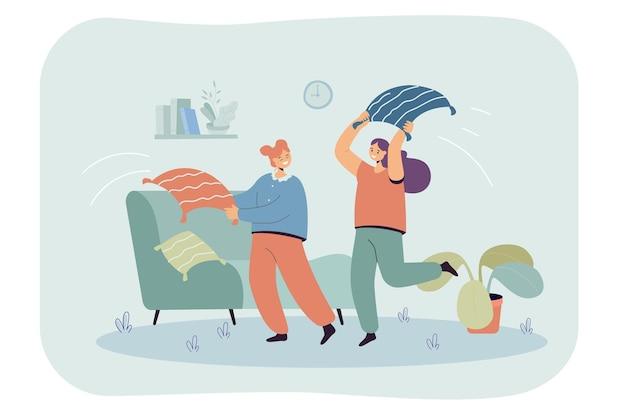 Desenhos animados de garotas brigando com almofadas na sala de estar