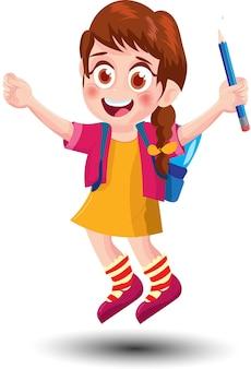 Desenhos animados de garotinhas fofas da escola