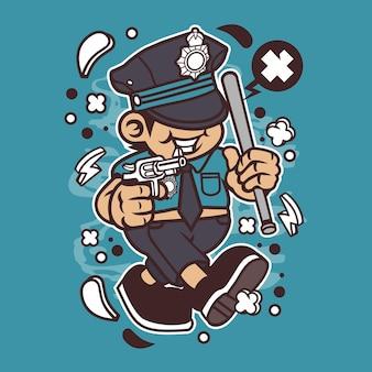 Desenhos animados de garoto de polícia