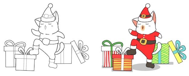 Desenhos animados de gato e presentes de papai noel para colorir facilmente a página para crianças