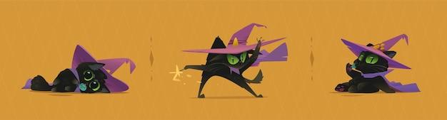Desenhos animados de gatos de halloween para o seu projeto