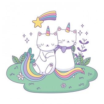 Desenhos animados de gatos unicórnio