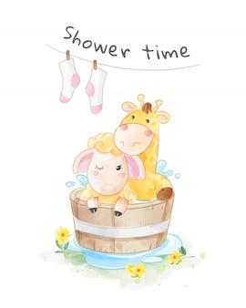 Desenhos animados de girafa e ovelhas na ilustração da banheira de madeira
