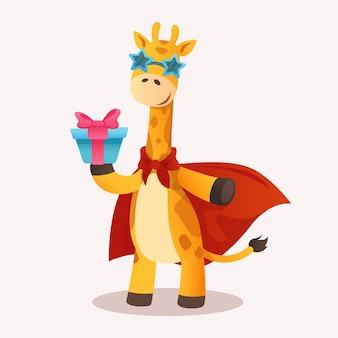 Desenhos animados de girafa manchada com presente capa vermelha personagem de savana vetorial para design de camisetas impressas