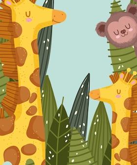 Desenhos animados de girafas familiares fofas e macaco safári na selva