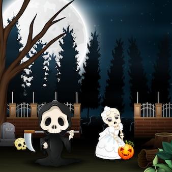 Desenhos animados de grim reaper e noiva de caveira no jardim à noite
