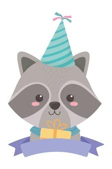 Desenhos animados de guaxinim com feliz aniversário