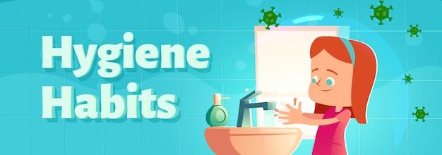 Desenhos animados de hábitos de higiene banner menina lavando as mãos