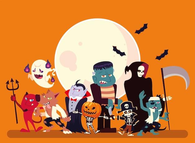 Desenhos animados de halloween com design de lua e morcegos, férias e ilustração de tema assustador