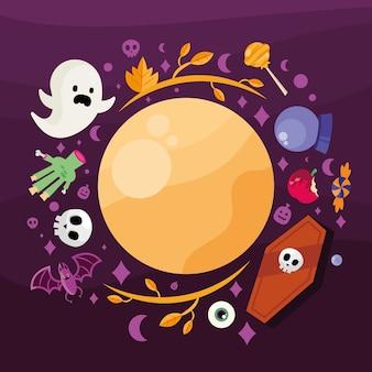 Desenhos animados de halloween em torno do design da lua, tema assustador