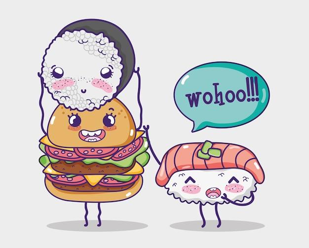 Desenhos animados de hamburger e sushis kawaii