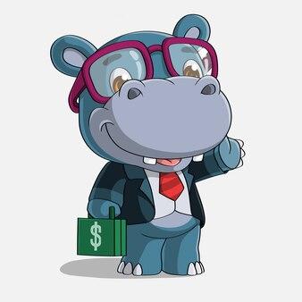 Desenhos animados de hipopótamo bem sucedidos, mão desenhada