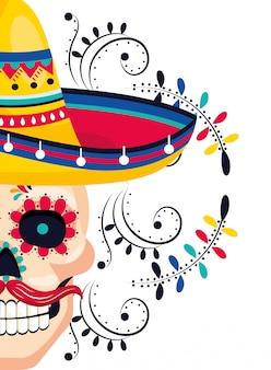 Desenhos animados de homem de cultura mexicana