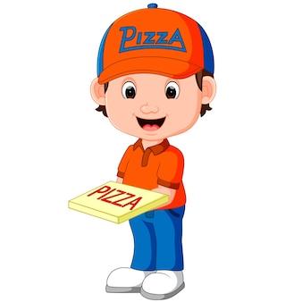 Desenhos animados de homem de entrega de pizza