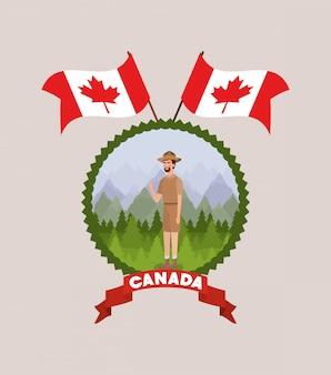 Desenhos animados de homem de guarda florestal e canadá