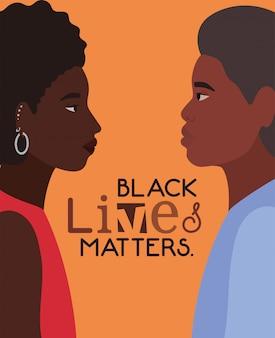 Desenhos animados de homem e mulher afro-negros em vista lateral com design de texto de questões de vida negra do tema justiça e racismo de protesto